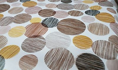 Pvc Table Cloth Geo Circles Choco Brown Latte Beige Tan Line Grey Black Wipeable