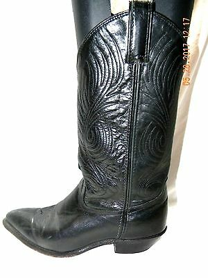 Lady's Code West Black Leather Cow Girl Boots Size 7 M