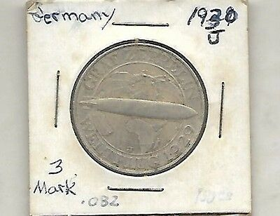 Germany 1930 J =3=Mark Zeppelin Silver Coin =Sell U.s.a.= Only =