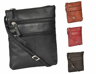 Small Real Leather Pouch Cross Body Travel Purse Sling Shoulder Organiser Bag