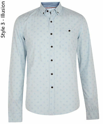 Smith & Jones Mens New Long Sleeve Slim Fit Shirts Print Casual Small S Sky Blue