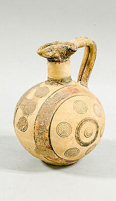 Large Ancient Cypriot pottery, polychromed wine jug c.750 BC.