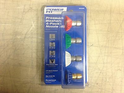 """PowerFit QC Pressure Washer 4 Pack Nozzle PF31064B, 1/4"""" Quick Connect, 3100 psi"""