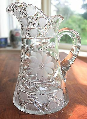 Old Antique American Brilliant Cut Glass Large Pitcher Finest Hand Cut Crystal