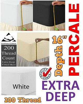 """Egyptian Cotton 200 Thread Count Percale Extra Deep 16"""" Box Depth Fitted Sheets"""