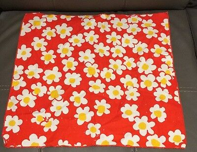 Vera Neumann Scarf Red With Yellow And White Flowers 100% Cotton EUC