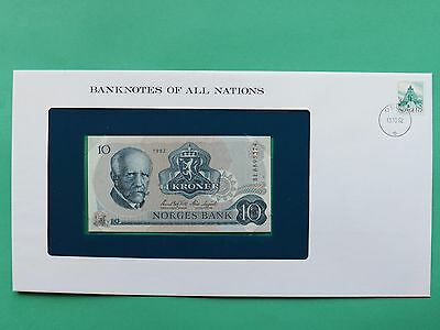 1982 Norway 10 Kroner Uncirculated Franklin Mint Banknote Cover SNo46084