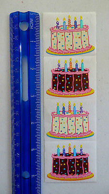 Mrs Grossman BIRTHDAY CAKE - Strip of Cake with Candles Stickers DISCONTINUED