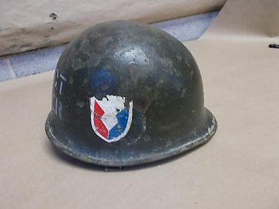 """M1 US GI Combat helmet Rear seam """"Project Manager""""  late WWII Korea"""
