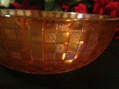 Hazel Atlas Rich Marigold Carnival Depression Glass Checkers Pattern Bowl