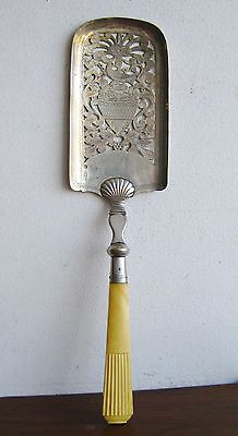 Antique 1800s Hamburg German Pierced Sterling Silver Celluloid Handle Server