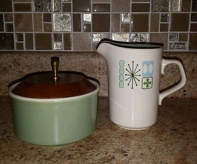 Taylorstone Cathay Creamer and Sugar Bowl Atomic Green Starburst 1960s