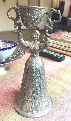Rare German, French Lady Shaped Wedding Chalice Toasting Cup 19c Silver-plate