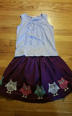 Mini Boden tank and Lands End owl skirt size 5/6