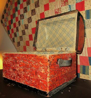 Antique Miniature Wallpaper Covered Dome Top Chest / Trunk -Child Dolls Trinkets