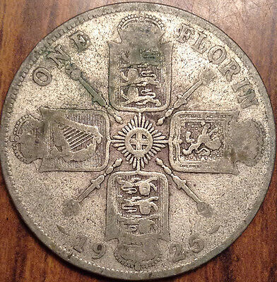 1925 Gb Uk Great Britain Florin .500 Silver Keydate In Good Condition !