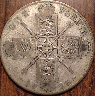 1926 Gb Uk Great Britain Florin .500 Silver Better Date In Good Condition !