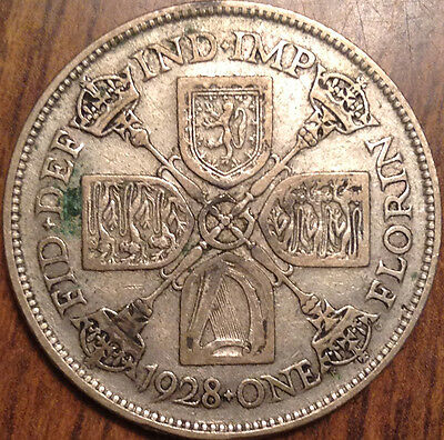 1928 Gb Uk Great Britain Florin .500 Silver In Good Condition !