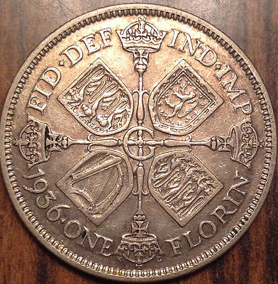 1936 Gb Uk Great Britain Florin .500 Silver In Great Condition !