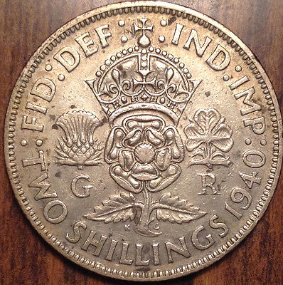 1940 Gb Uk Great Britain Two Shillings .500 Silver In Good Condition !