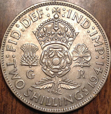 1941 Gb Uk Great Britain Two Shillings .500 Silver In Great Condition !