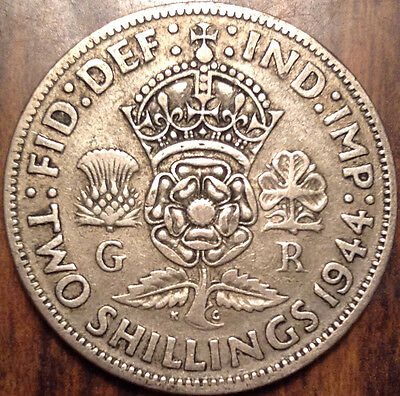 1944 Gb Uk Great Britain Two Shillings .500 Silver In Good Condition !