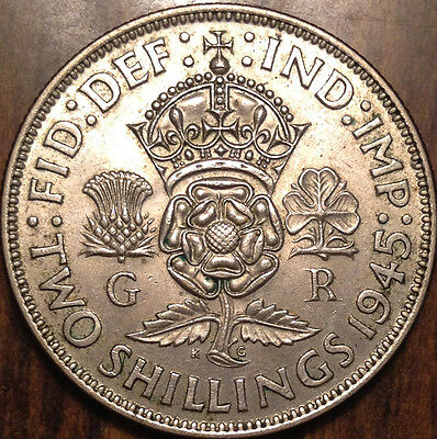 1945 Gb Uk Great Britain Two Shillings .500 Silver In Magnificent Condition !