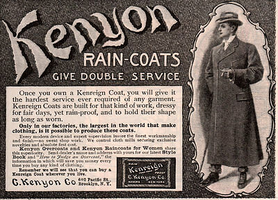 Ad Lot Of 2 Early Kenyon Co Raincoat Man  Frieze Ulster