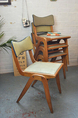 1 x Vintage Mid Century Stacking Wooden Dining Desk Chair