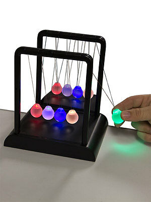 Newton's Multi-Color Light Up Cradle w/ LED Glass Balls and Mirror for Desktops
