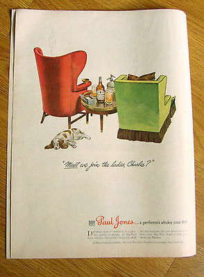1944 Paul Jones Whiskey Ad Must we join the ladies, Charlie?