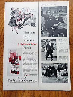 1955 The Wines of California Ad   Party Wine Punch