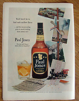 1953 Paul Jones Whiskey Ad New York Oregon Yellowstone