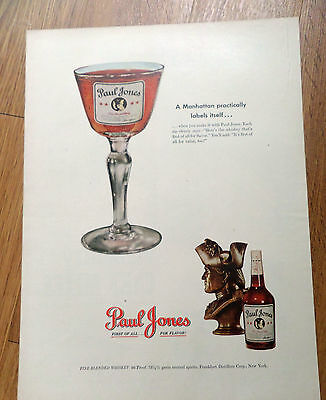1949 Ad Paul Jones Whiskey  Manhattan Labels Itself
