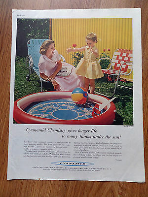1958  Cyanamid Ad Chemistry Gives Longer Life things under the Sun Swimming Fun