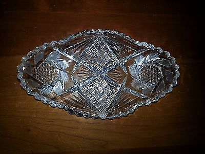 Antique ABP Cut Glass Oval Celery Relish Dish Bowl Flower & Strawberry Pattern