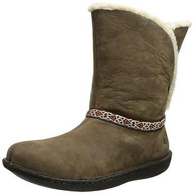 Keen 5848 Womens Galena Brown Leather Winter Boots Shoes 7.5 Medium (B,M) BHFO