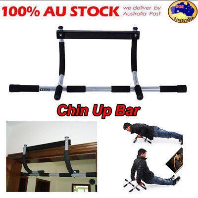 Portable Chin Up Workout Bar Home Door Pull Up Exercise Chinup Fitness Gym