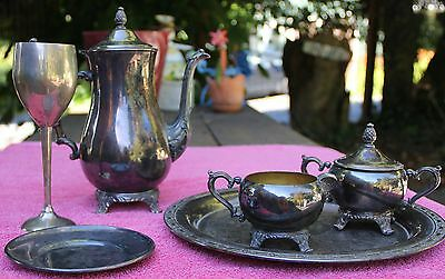 Sterling Silver Serving Wear Coffee Service Goblet Plate Tray Creamer Sugar bowl