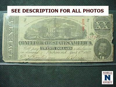 NobleSpirit NO RESERVE {PC1} Lovely $20 1863 Confederate CSA T-58 Series 1 VF