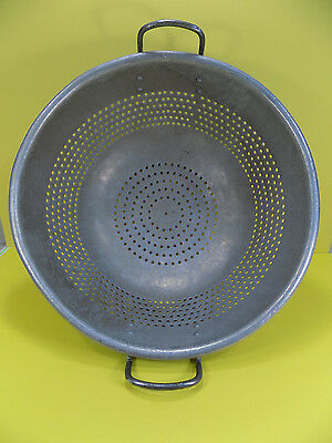 "Large 17"" Commercial Aluminum Colander Good Used Condition- FREE SHIPPING"