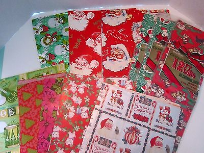 Lot of 15 vintage sheets gift wrapping paper. Christmas. Santa, cats & tissue