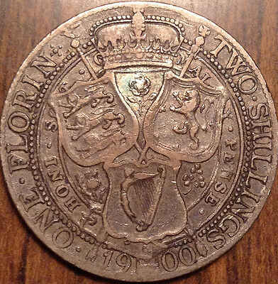 1900 Gb Uk Great Britain Florin In Great Condition !
