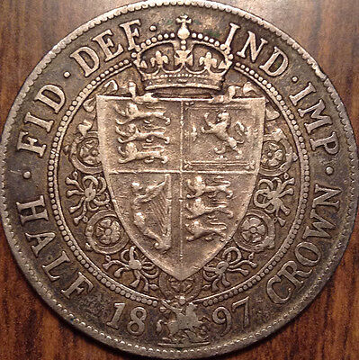 1897 Gb Uk Great Britain Silver Half Crown In Great Condition !