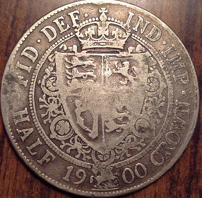1900 Gb Uk Great Britain Silver Half Crown In Good Condition !