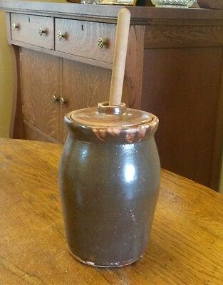 Vintage Stoneware Pottery Tabletop Butter Churn Crock Barbecue Basting Brush