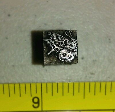 Vintage Letterpress Printing Block Butterfly Solid Metal Rare
