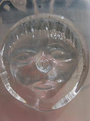 OOAK Eskimo Face antique bottle~heavy ART GLASS~signed Kaza or Kala~numbered~