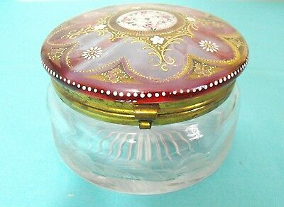 Large Etched Glass and Hand Enameled Glass Dresser Box