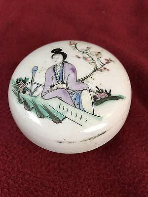 Chinese  Antique Porcelain Famille Rose Makeup Round Box